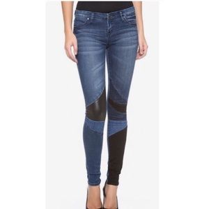 Blank NYC faux leather patch jeans 26